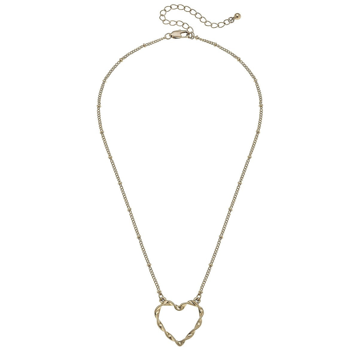 Heart Necklace in Worn Gold