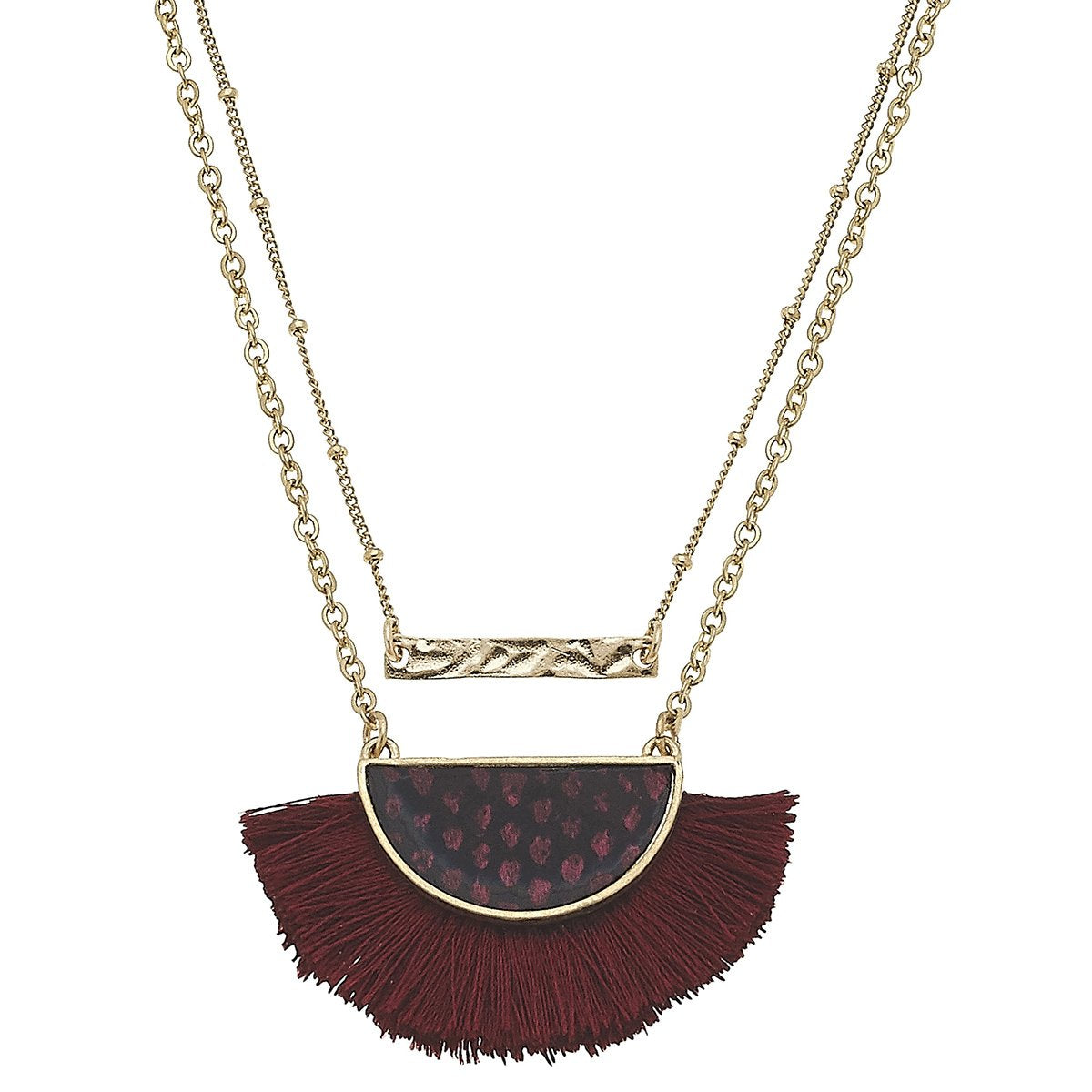 Layered Python-Print Tassel Necklace in Burgundy