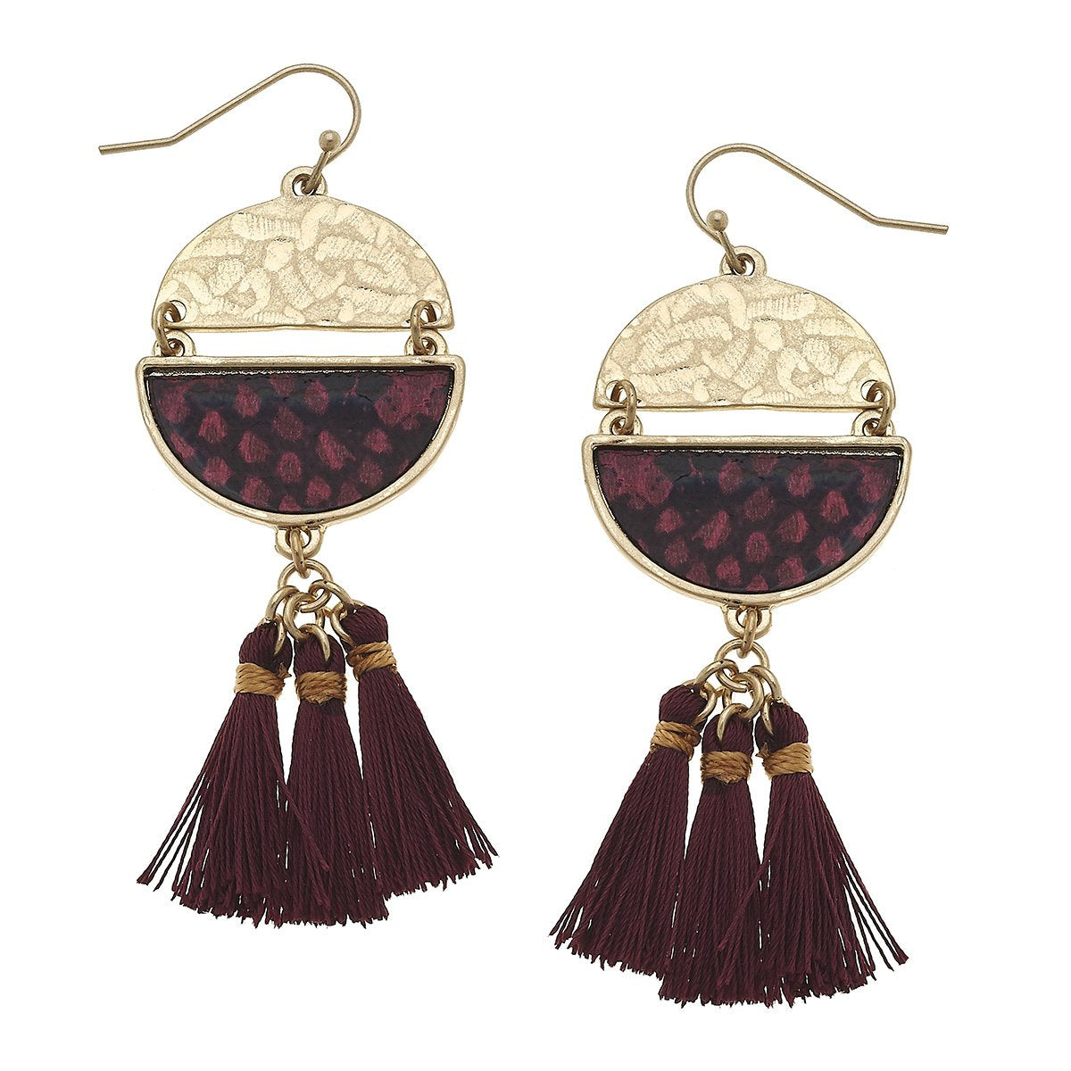 Python Print Disc Tassel Earrings in Red