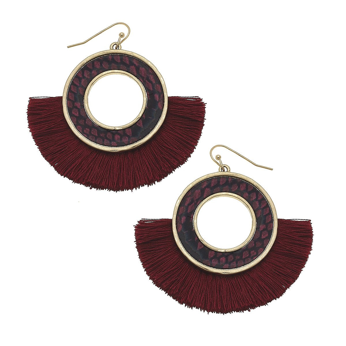 Python-Print Disc Tassel Earrings in Burgundy