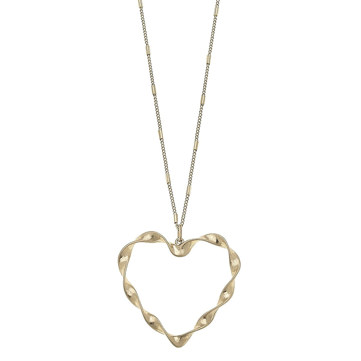 Heart Pendant Necklace in Worn Gold