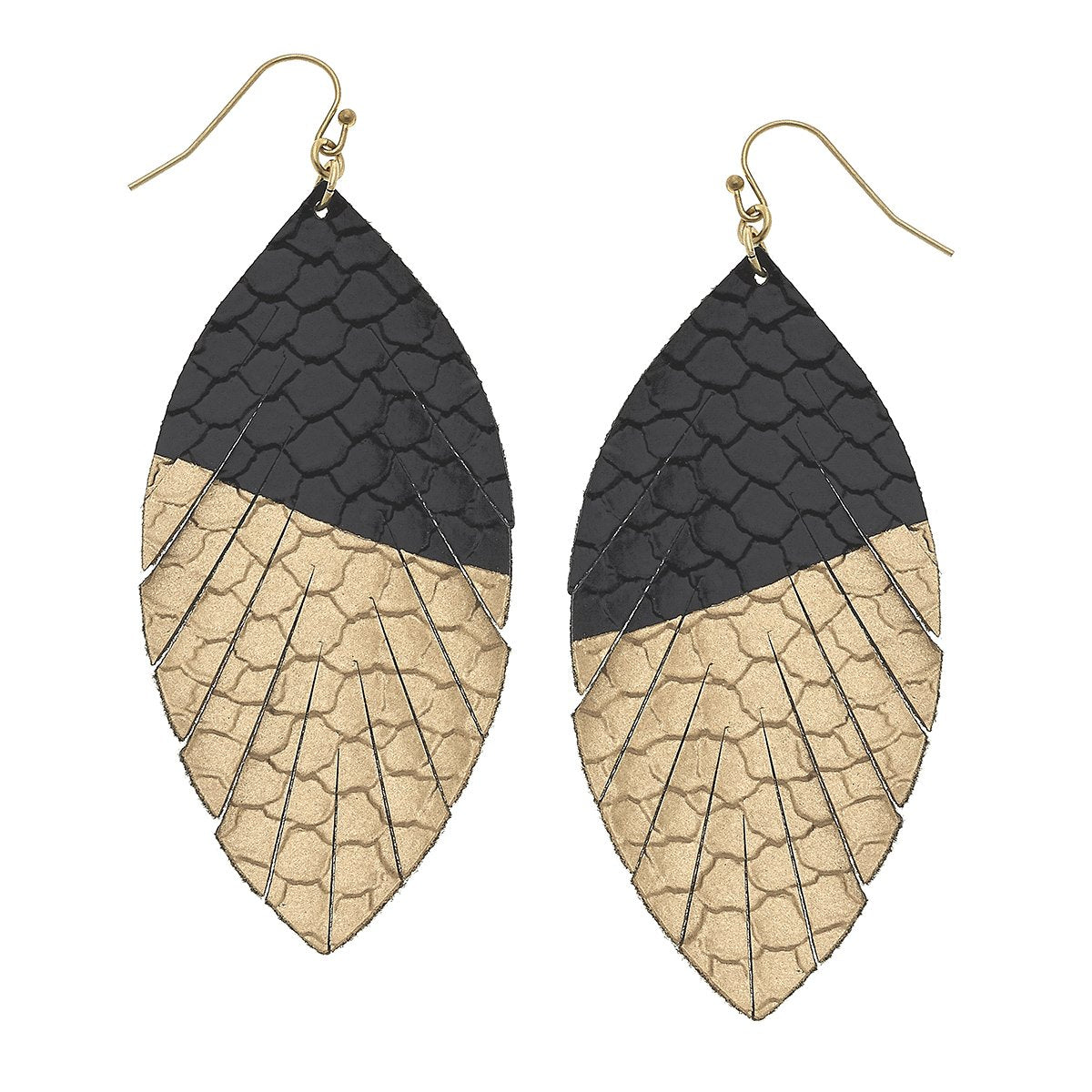 Gold-Tipped Leather Earrings in Black