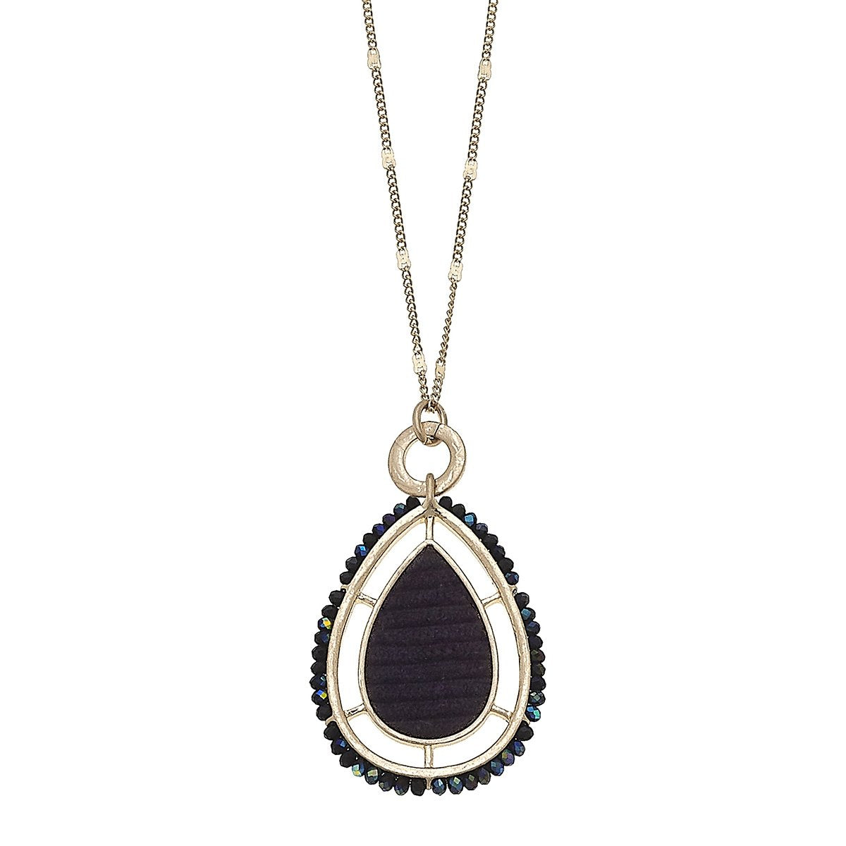 Velvet Beaded Teardrop Pendant Necklace in Black