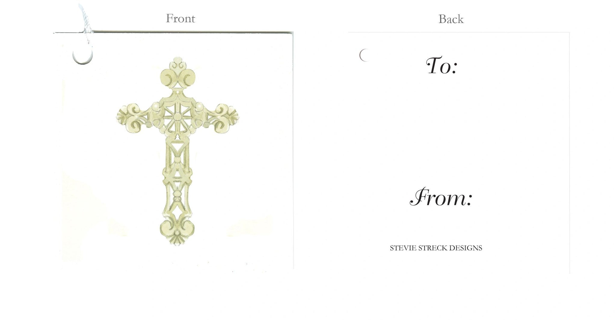 GTF112 Ornate Cross gift tag, pkg of 6