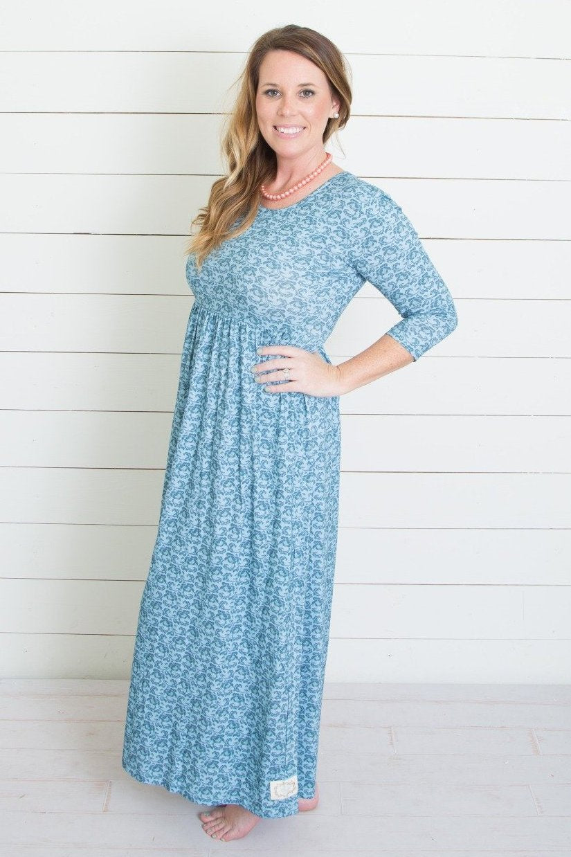 Swanky Lady-Most Wanted Maxi Dress-Antique Blue Floral
