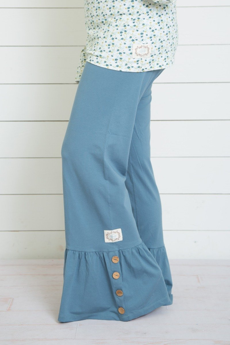 Swanky Lady Yoga Waistband Ruffle Pants-Solid Blue Mirage