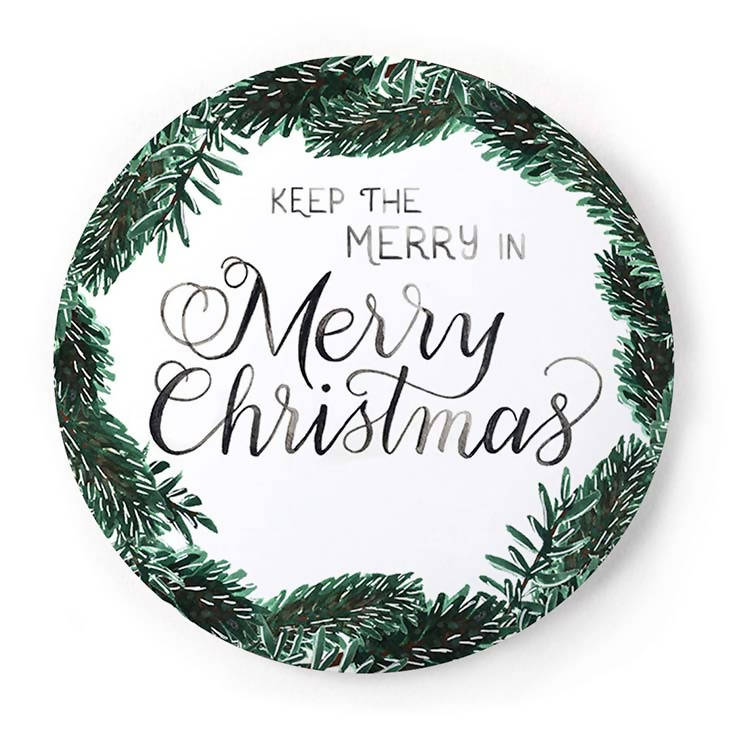 Merry Christmas 2 Inch Pin-Back Button