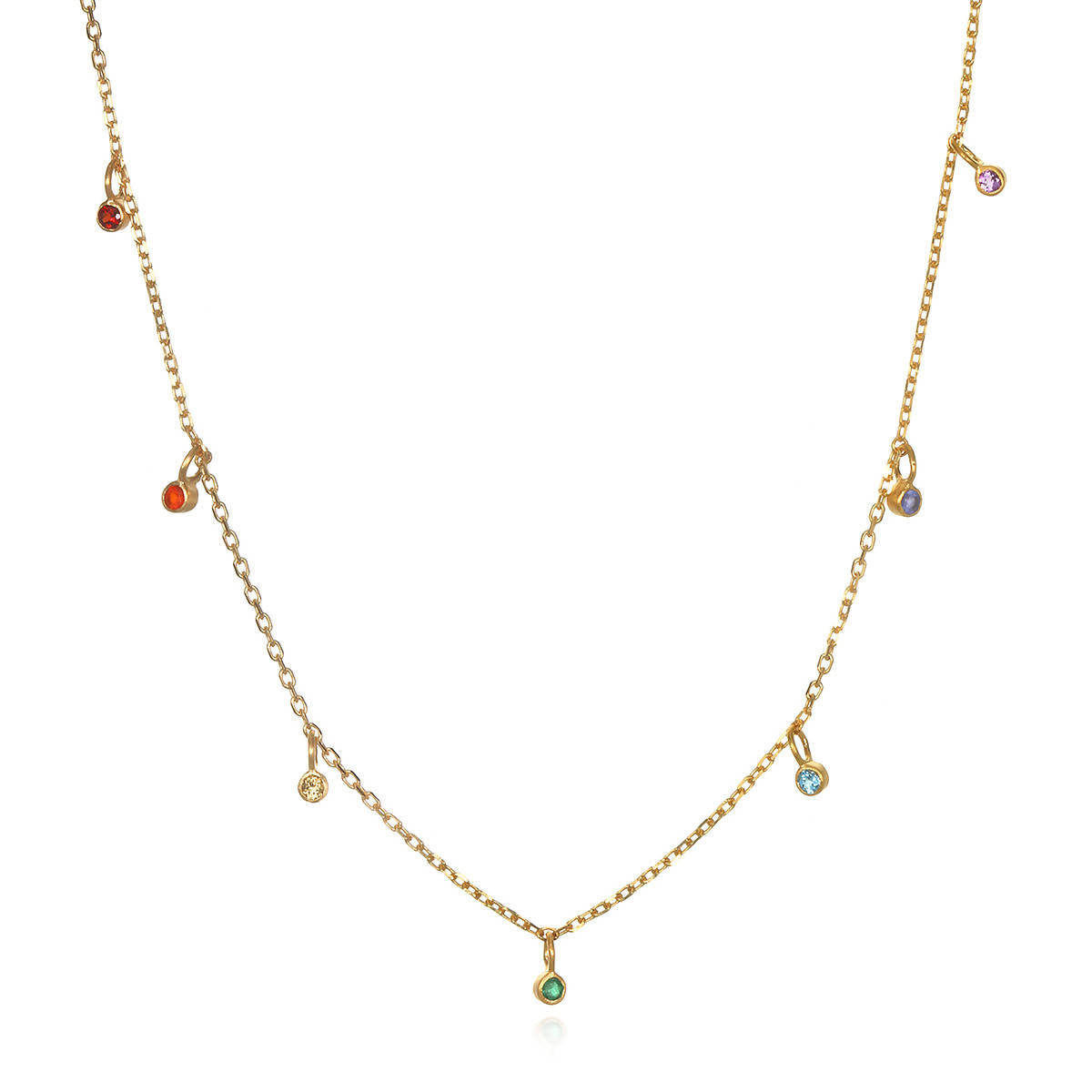 Multi Gemstone Gold Chakra Choker Necklace
