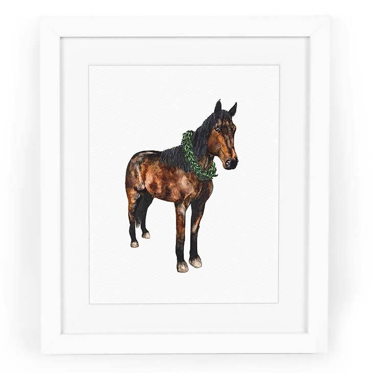 Horse with Wreath Art Print