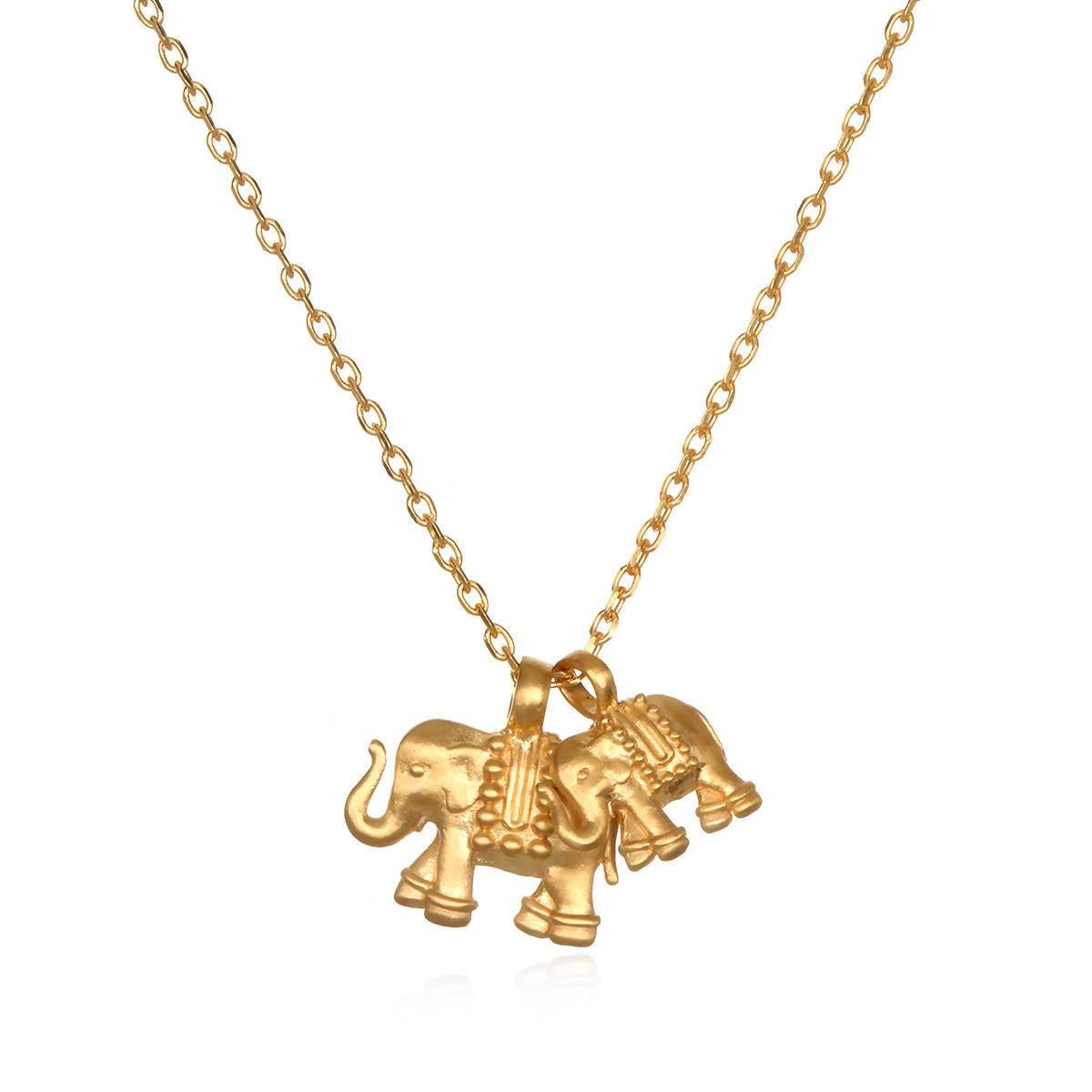 Gold Double Elephant Pendant Necklace