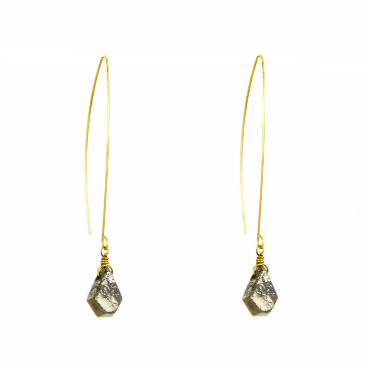 Pyrite Pentagon Wire Earring