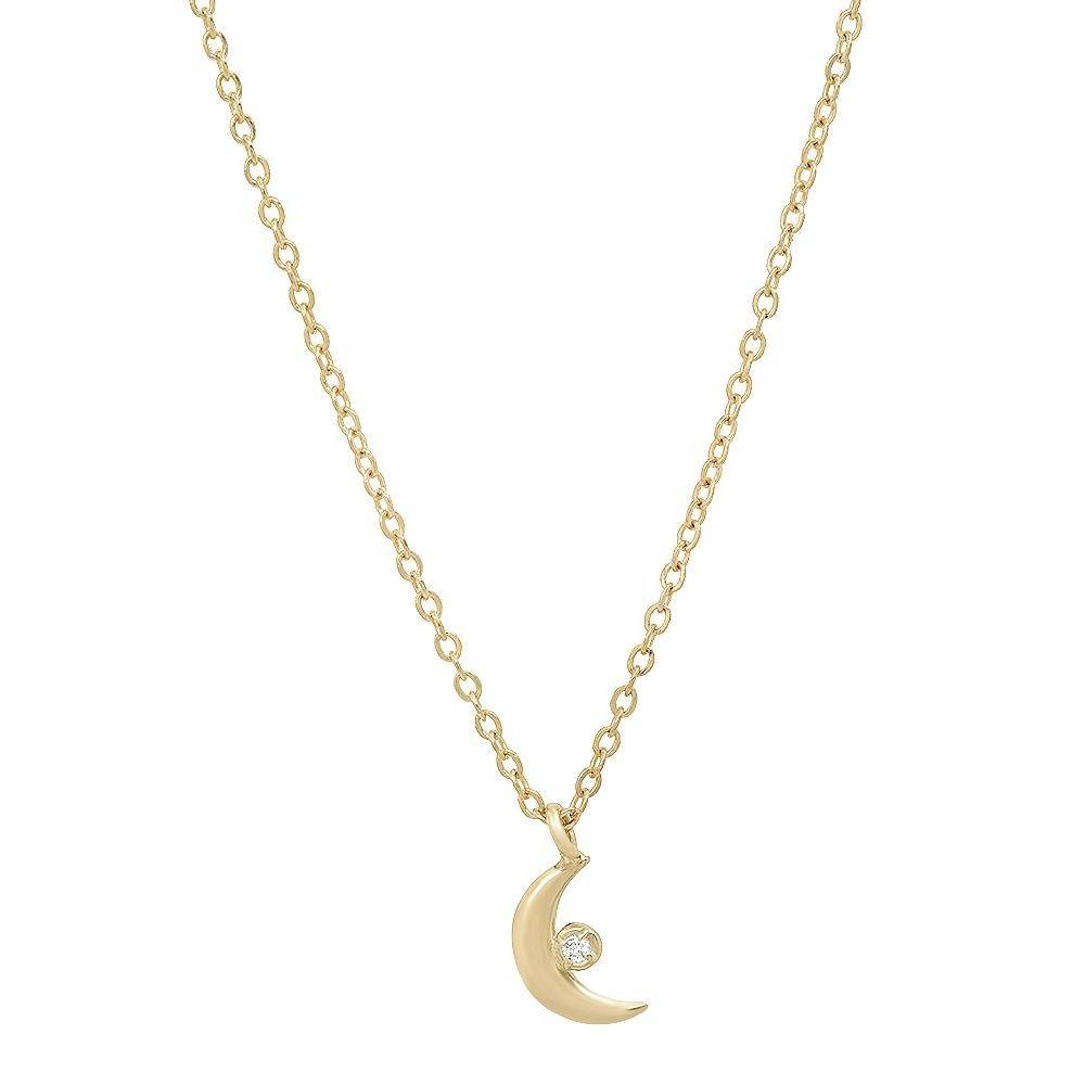 """Celestial"" 14K Gold Tiny Moon Pendant with Diamond"