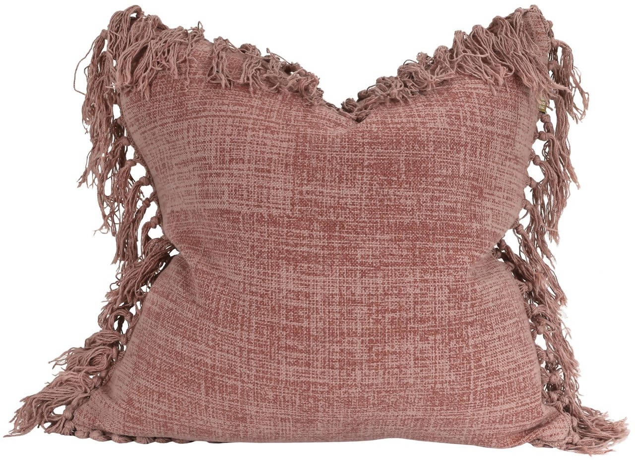 Mushroom Pink Pillow with Tassel Fringe