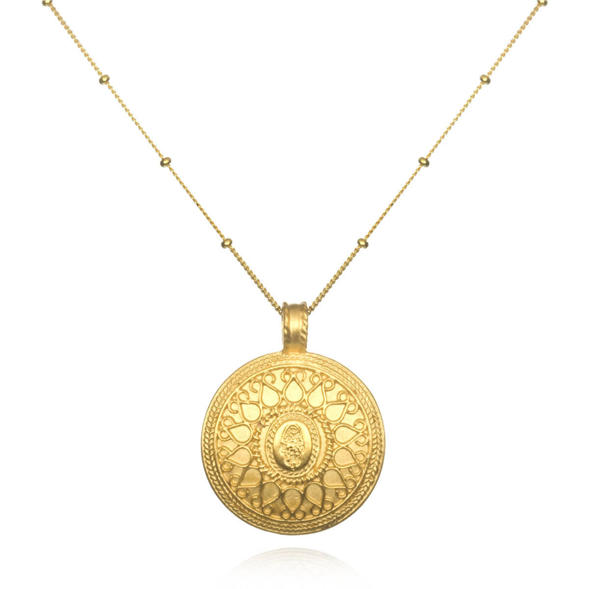 Gold Hamsa Mandala Necklace