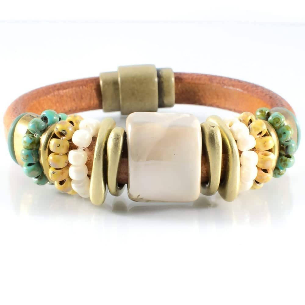 Turquoise and Cream Leather Bracelet