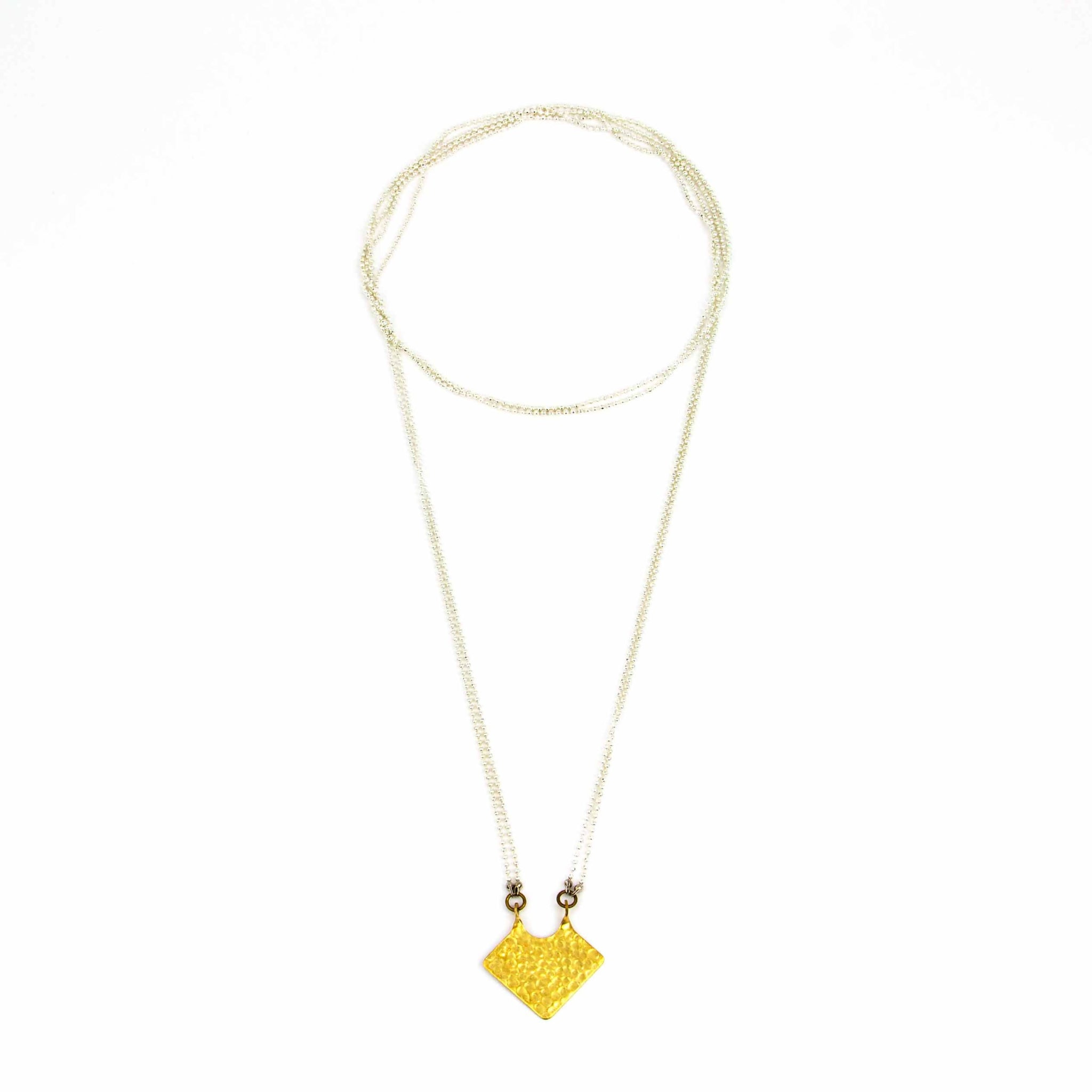 Hammered Triangle Long Necklace