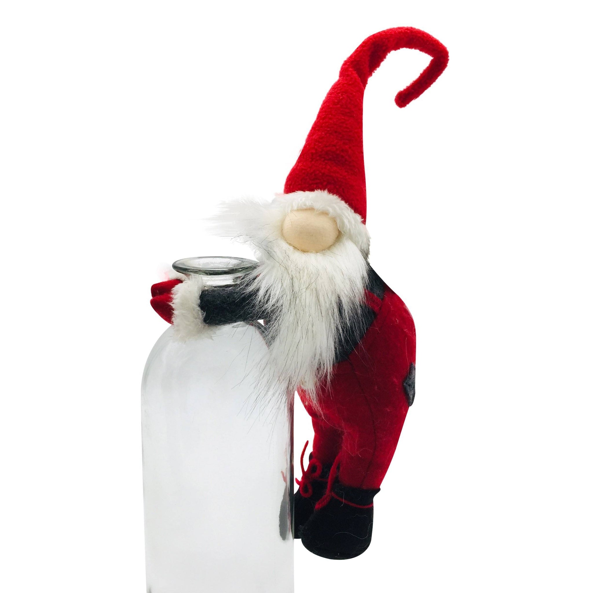 CLIMBING GNOME SANTA BOTTLE DECOR