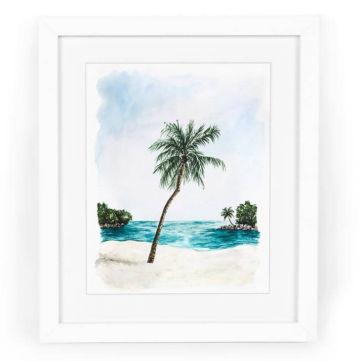 Palm Tree Cove Watercolor Art Print
