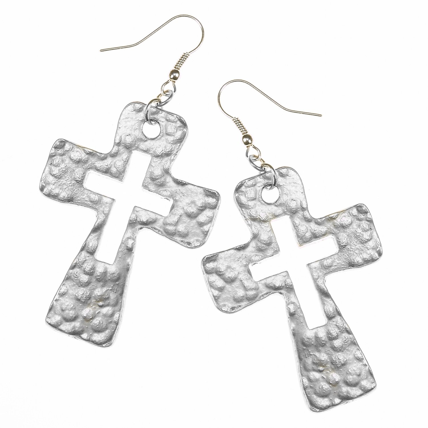 Large Cut-Out Cross Earring in Worn Silver