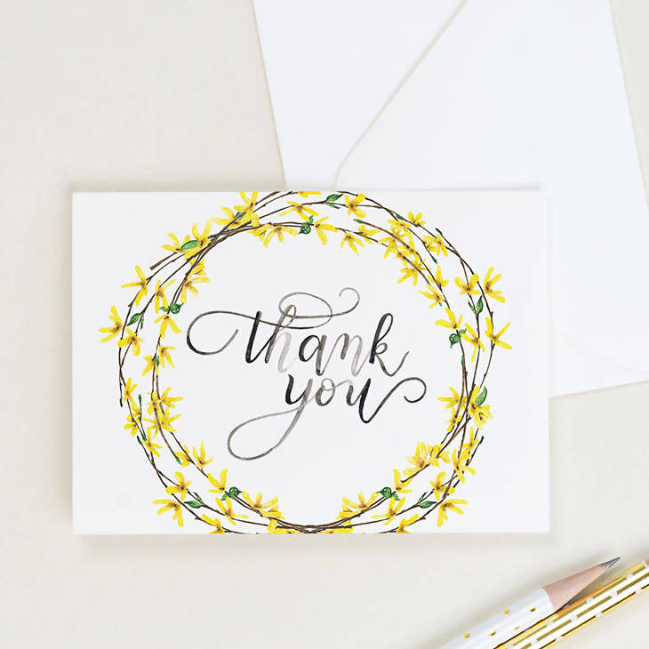 Forsythia Thank You Card, Set of 8