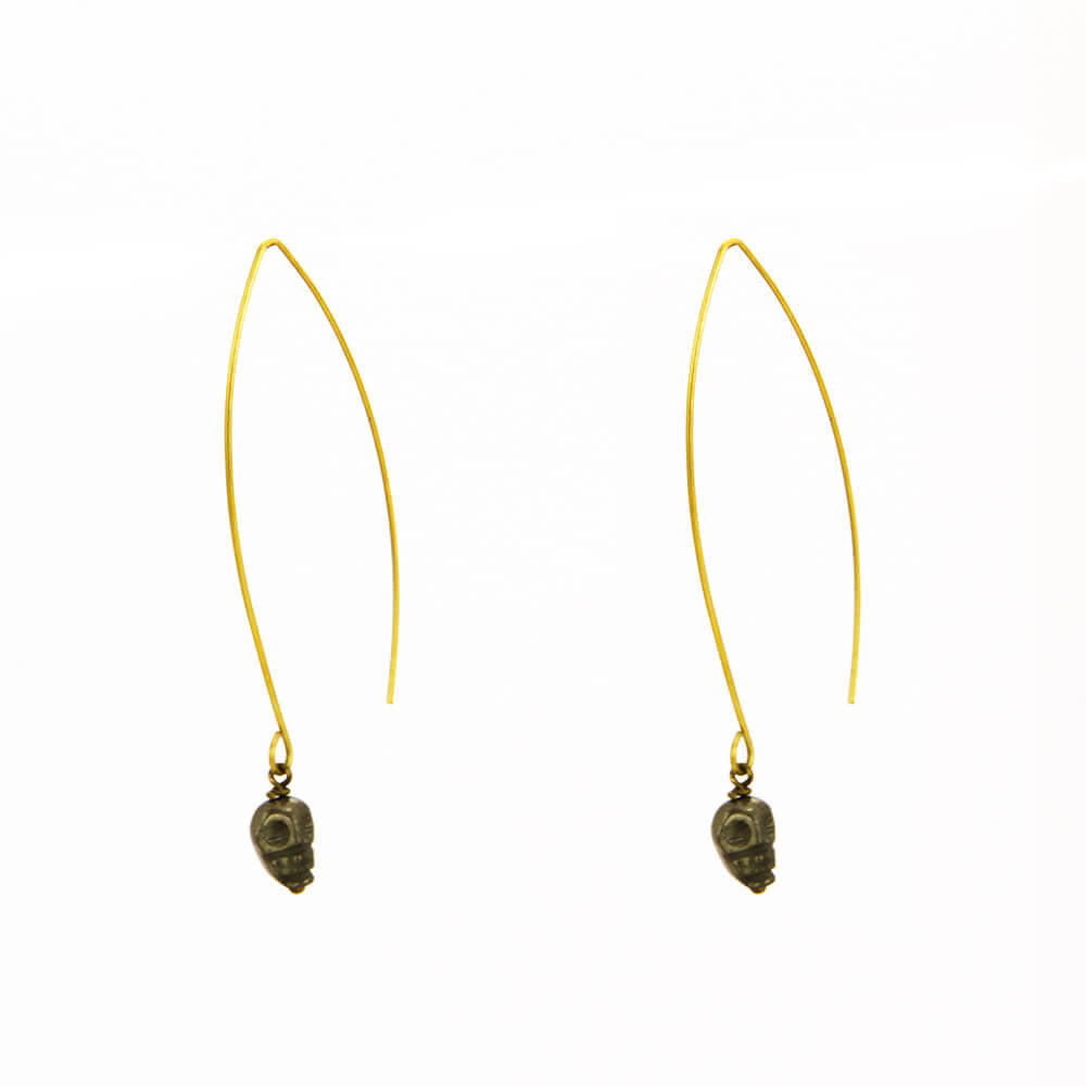 Carved Skull Pyrite Wire Earrings