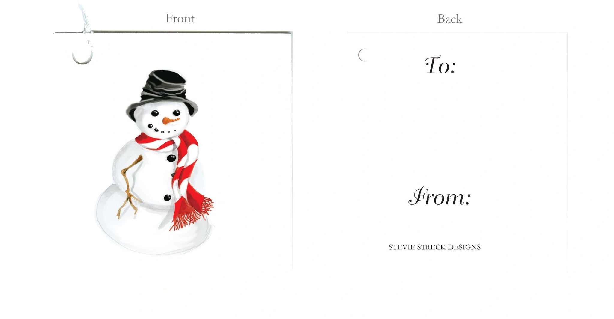 GTF121 Snowman with red scarf gift tag, pkg of 6