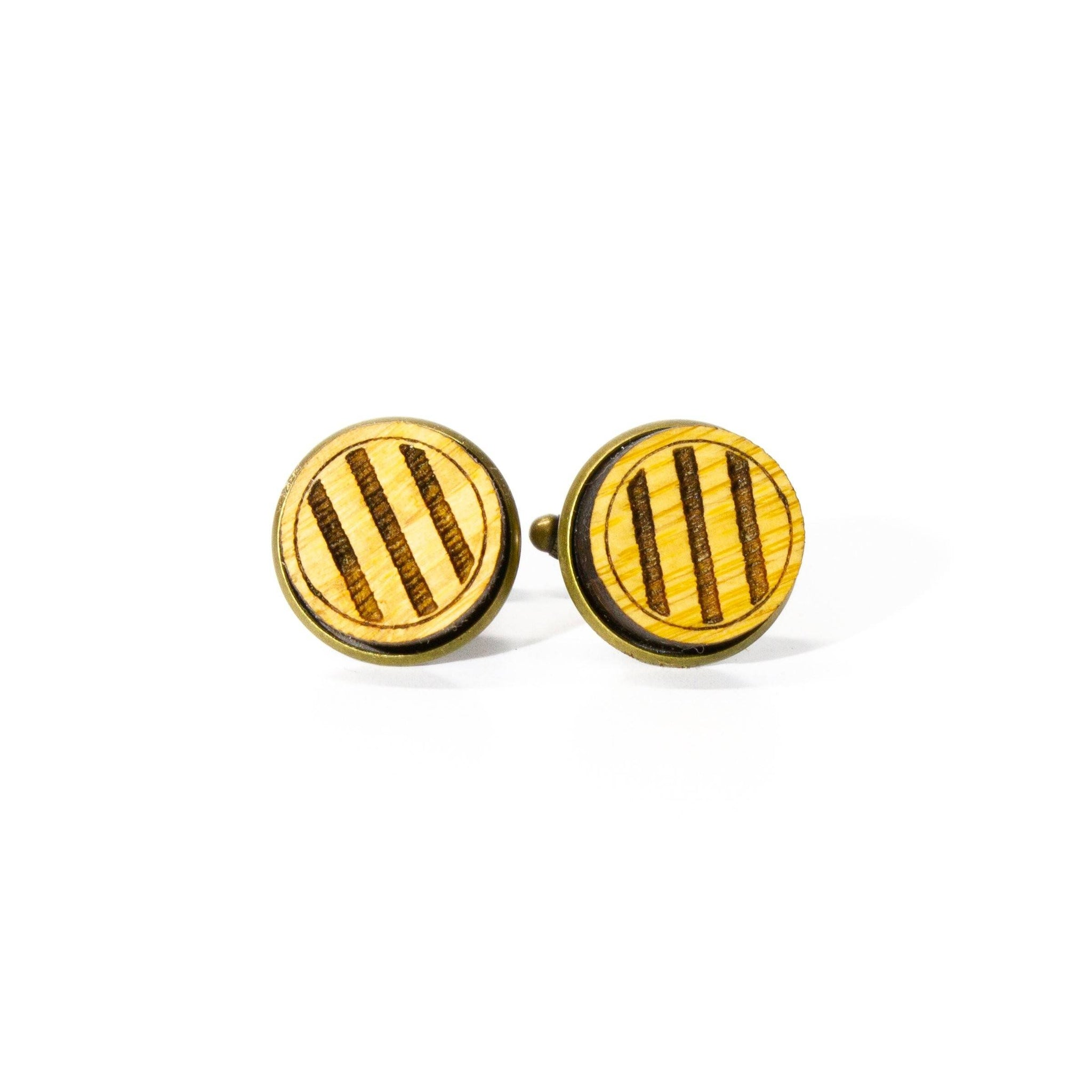 Stripes: Bamboo Cufflinks - Square
