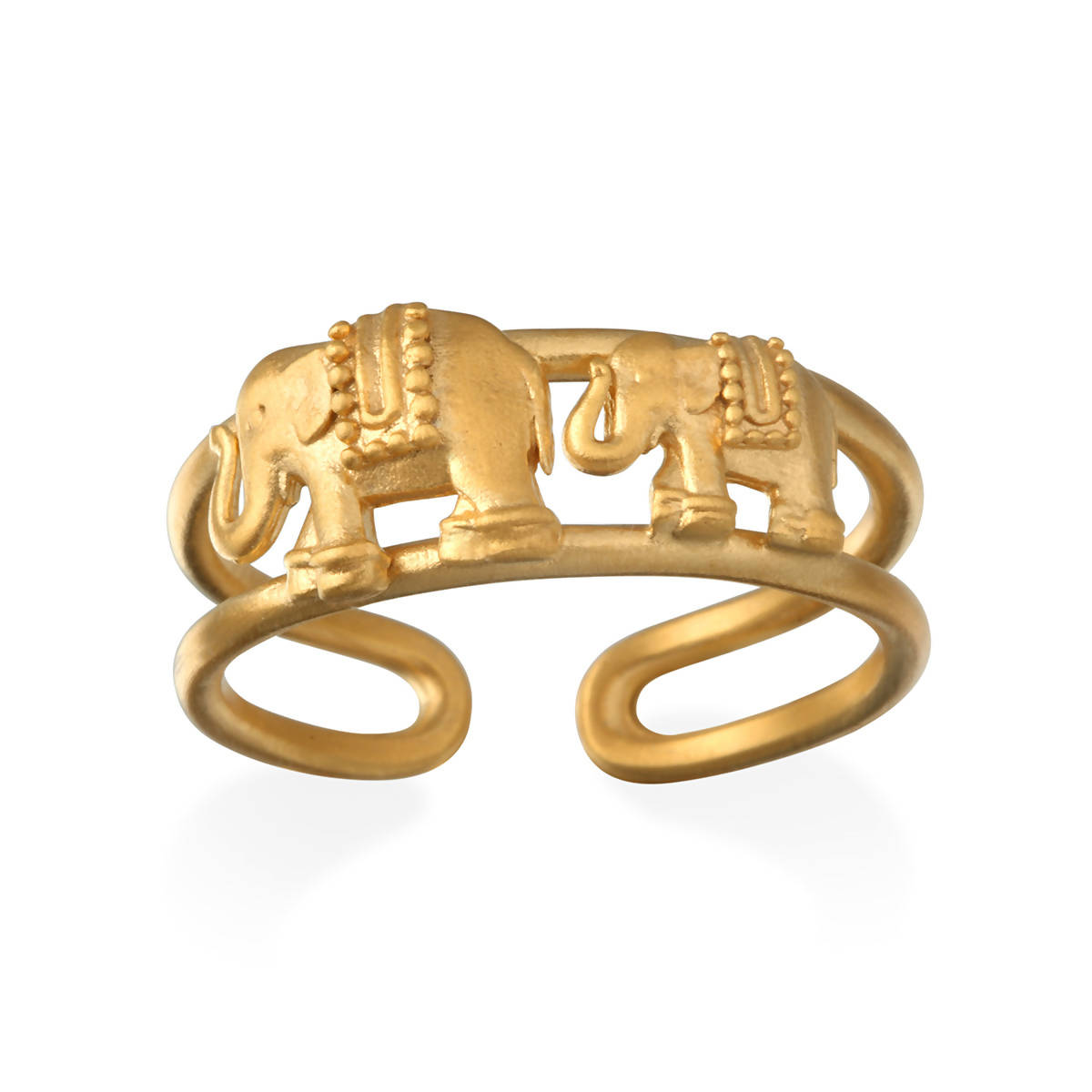 Gold Double Elephant Ring
