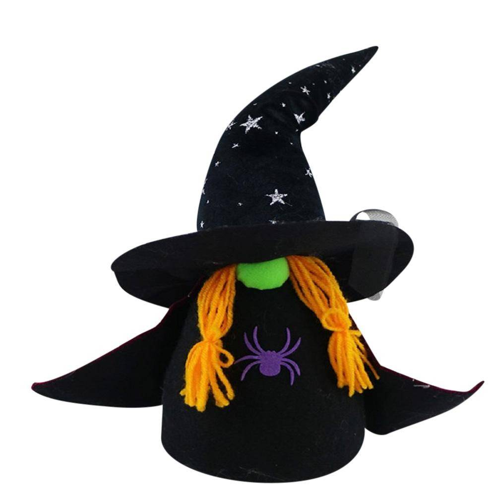BLACK HALLOWEEN FABRIC WITCH GNOME