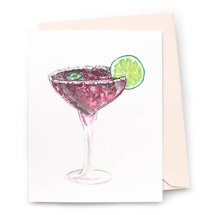 Blackberry Margarita Note Card, Set of 8