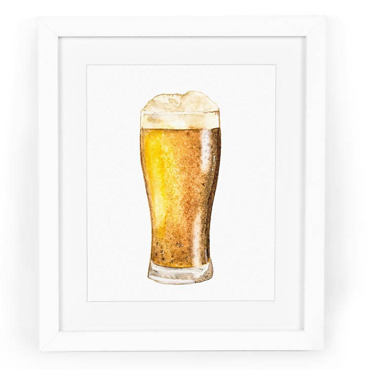 Beer in Weizen Glass Watercolor Art Print