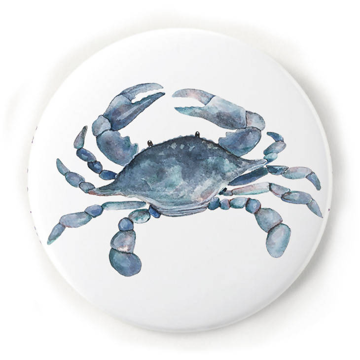 Blue Crab 2 Inch Pin-Back Button
