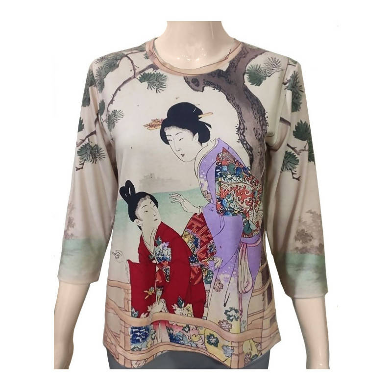 Geisha 2 - 3/4 Sleeve Art Shirt