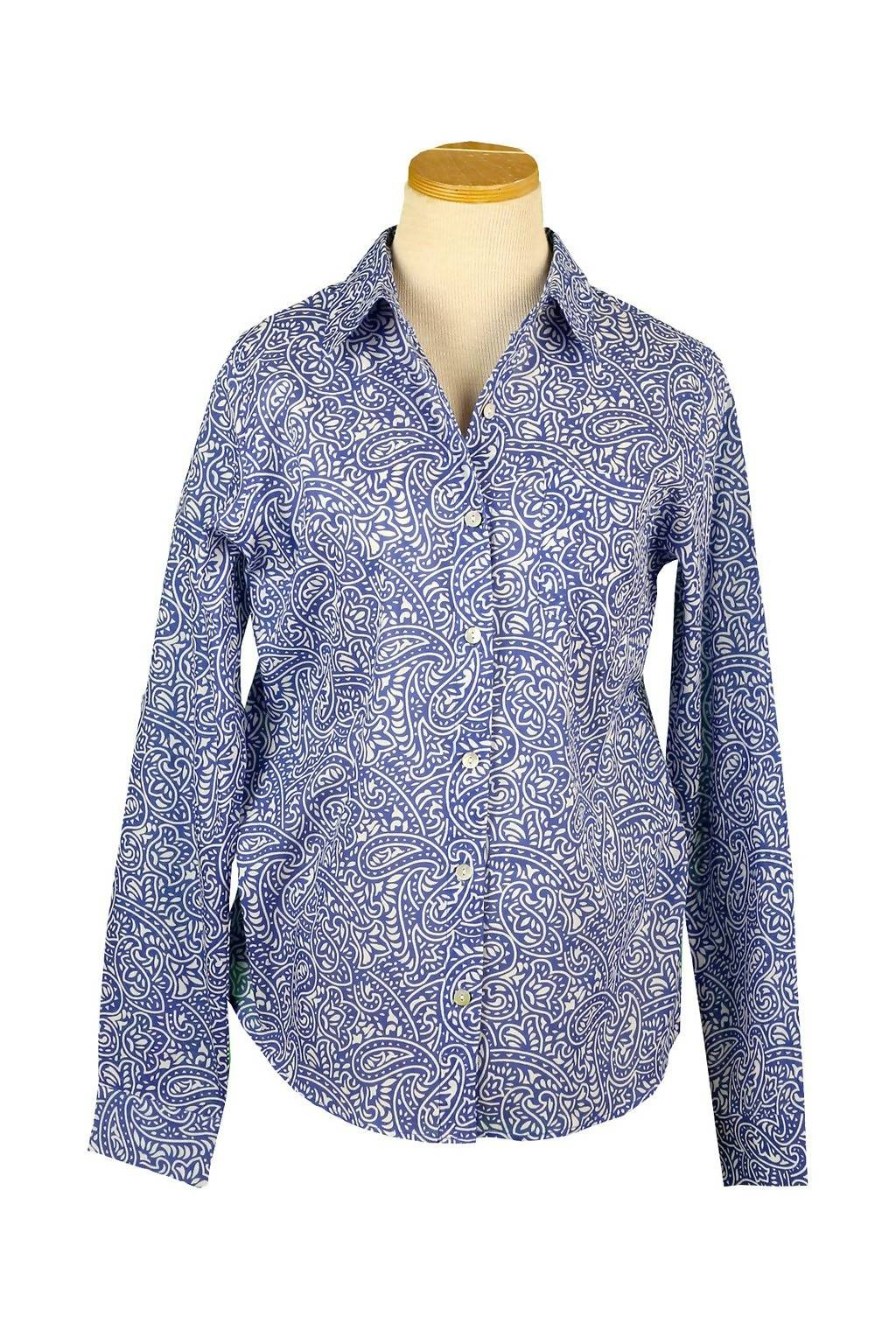 Royal Blue and White Paisley Button Down Shirt