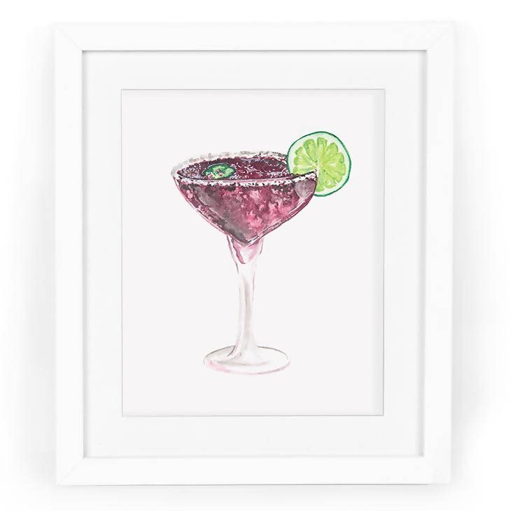 Blackberry Margarita Watercolor Art Print