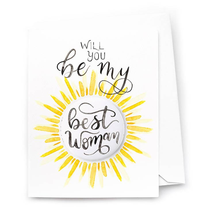 Be My Best Woman Card and Pin-Back Button