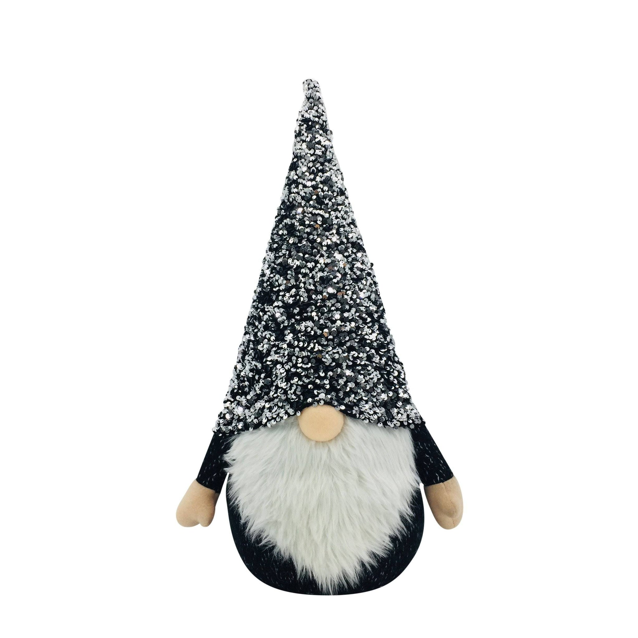BLACK AND SILVER SEQUINS GNOME NO LEGS