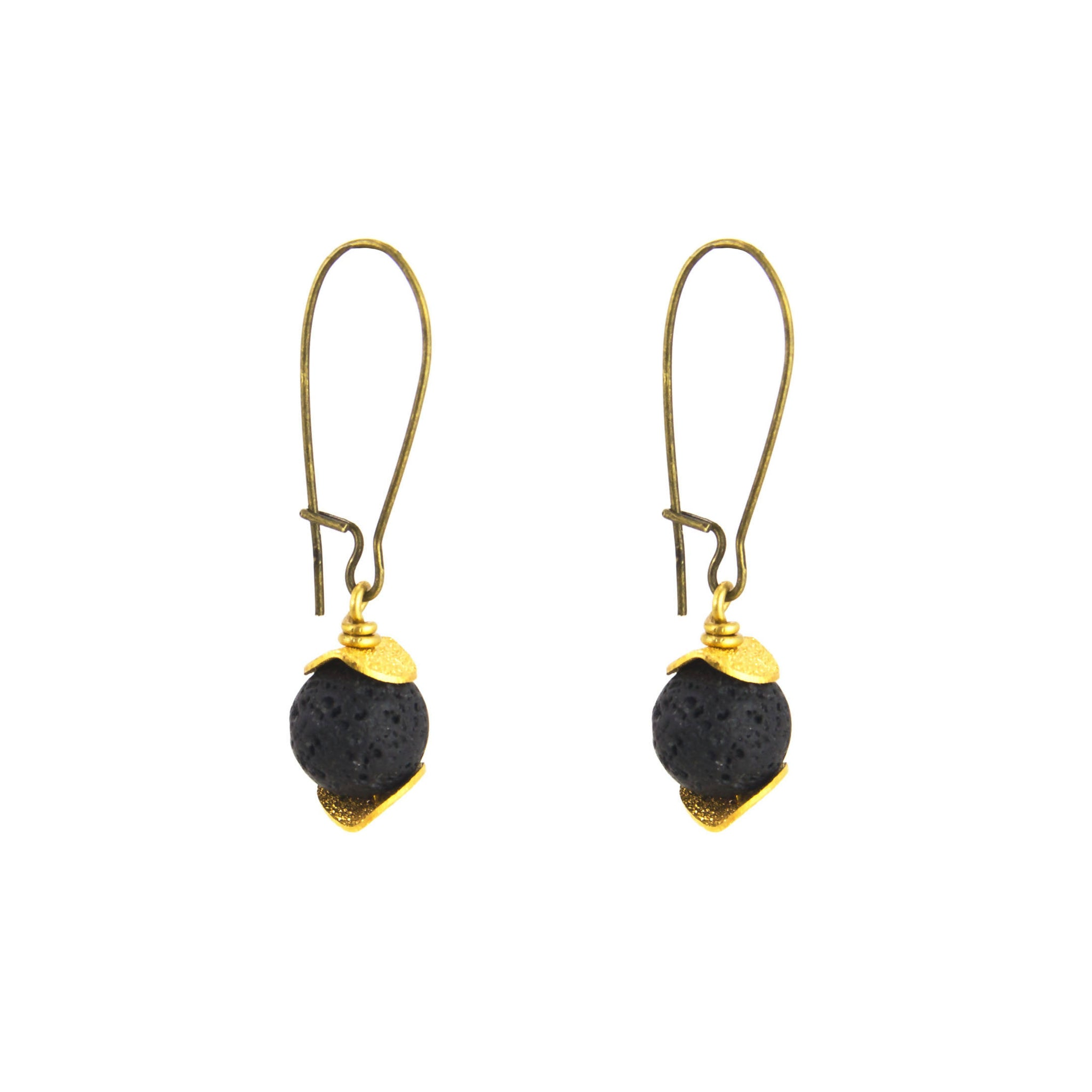 Short Lava Stone Earring