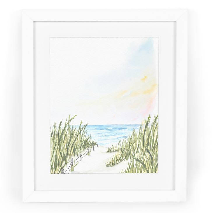 Ocean City Dunes Watercolor Art Print