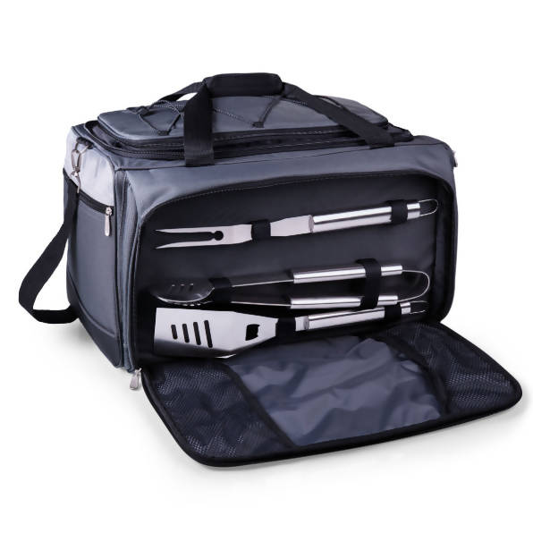 Buccaneer Portable Charcoal Grill & Cooler Tote, (Black with Gray Accents)