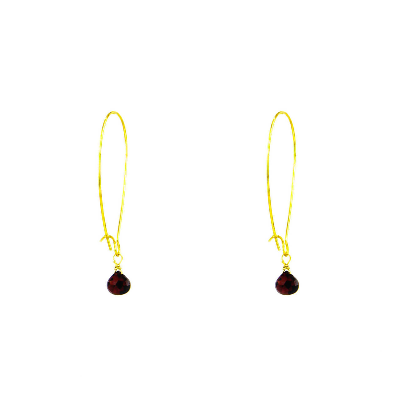 Almond Wire Garnet Dew Drop Earrings