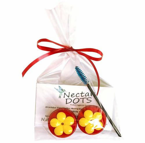 Nectar Dots Hummingbird Feeder Kit - Feed Right from Your Hand! Includes Easy Instructions and Cleaning Brush!