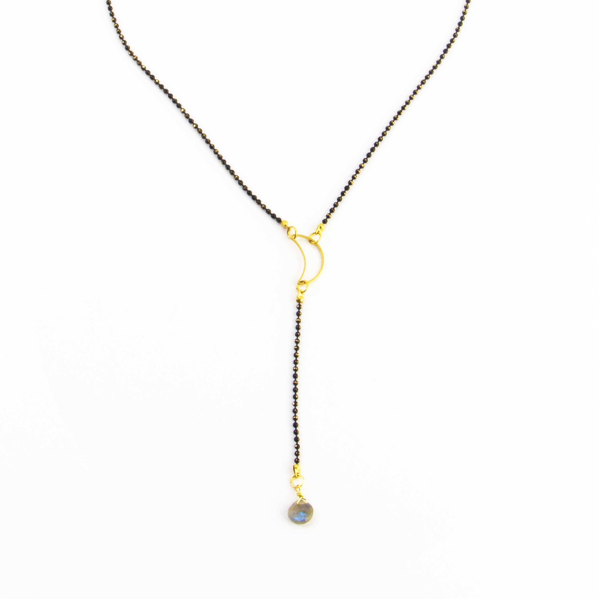 Labradorite and moon Y Necklace