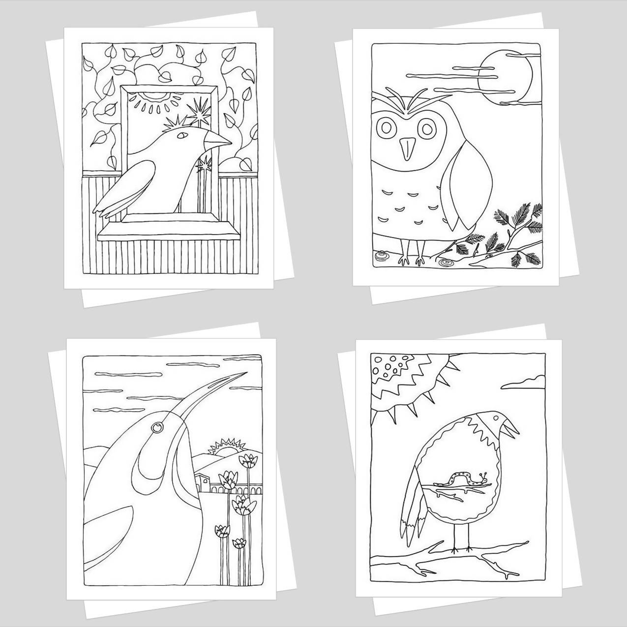 Feathered Friends Coloring Card Set