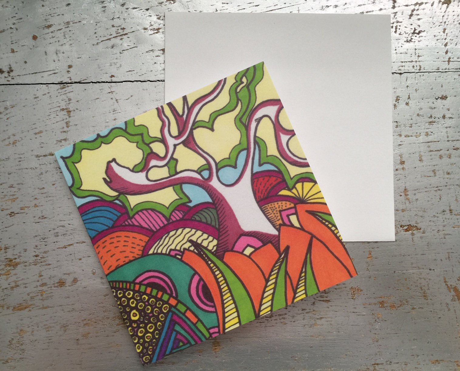 Crazy Tree-Blank Greeting Card