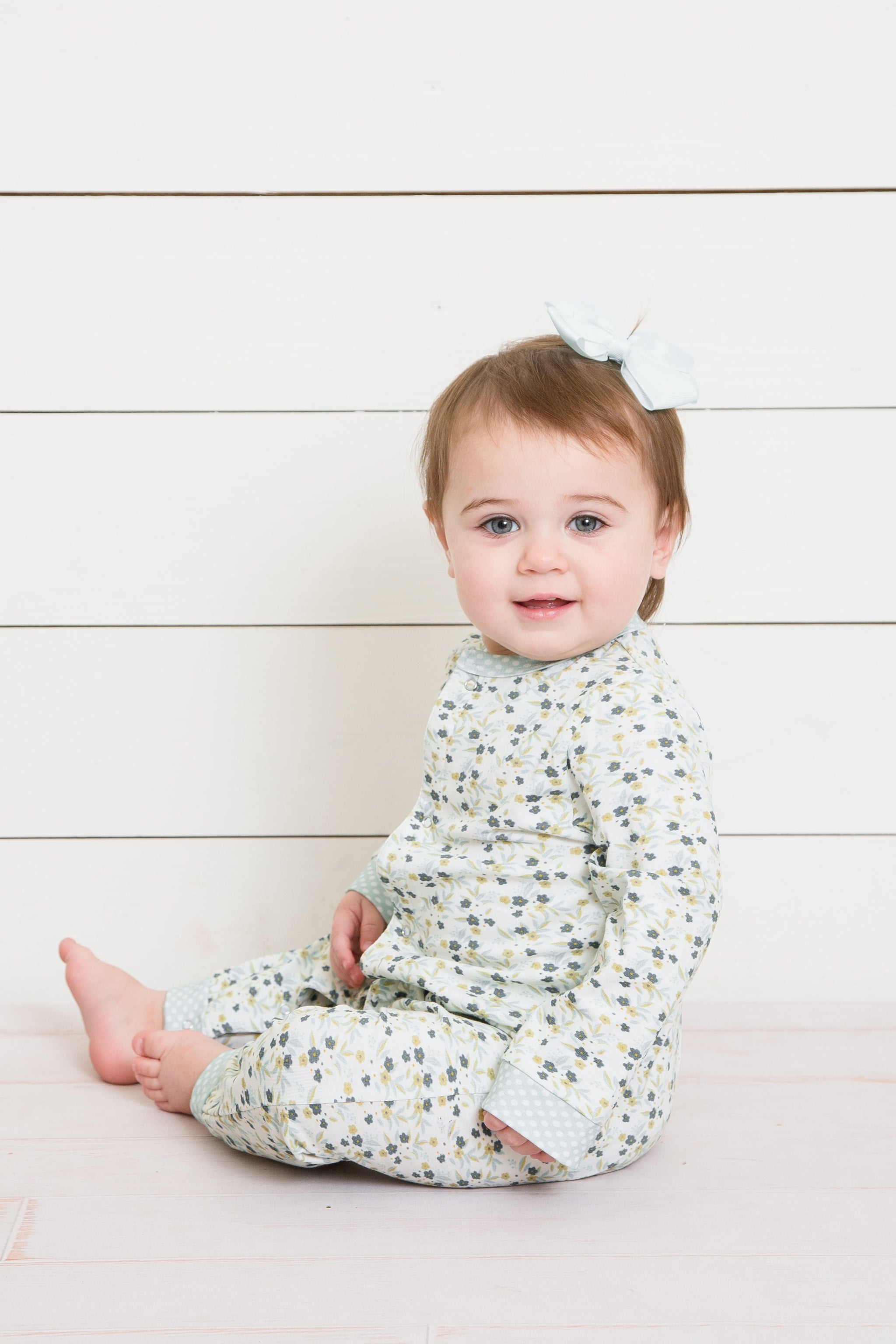 Snap Front Layette-Olive Fields Floral