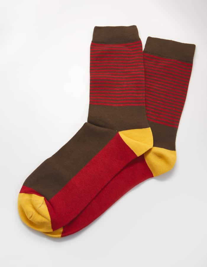 Brown Color Block Socks
