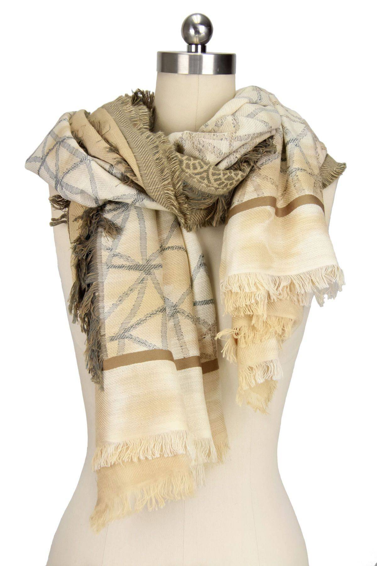 Ecru Multi Golden Scarf
