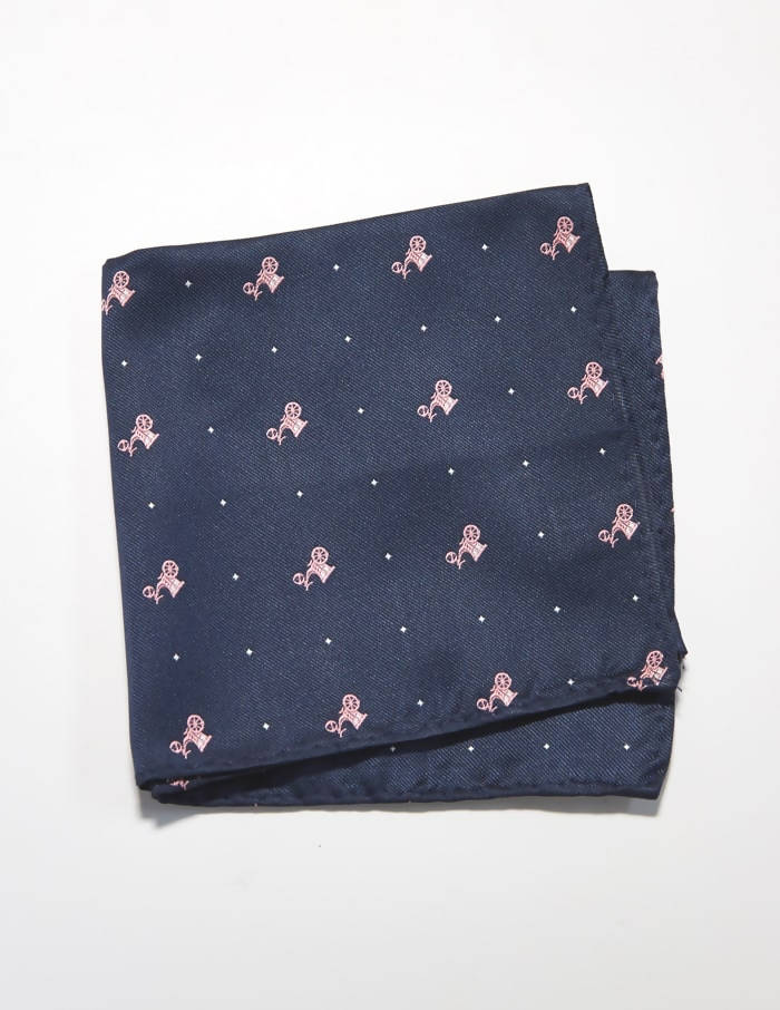 Navy and Pink Stagecoach Pocket Square