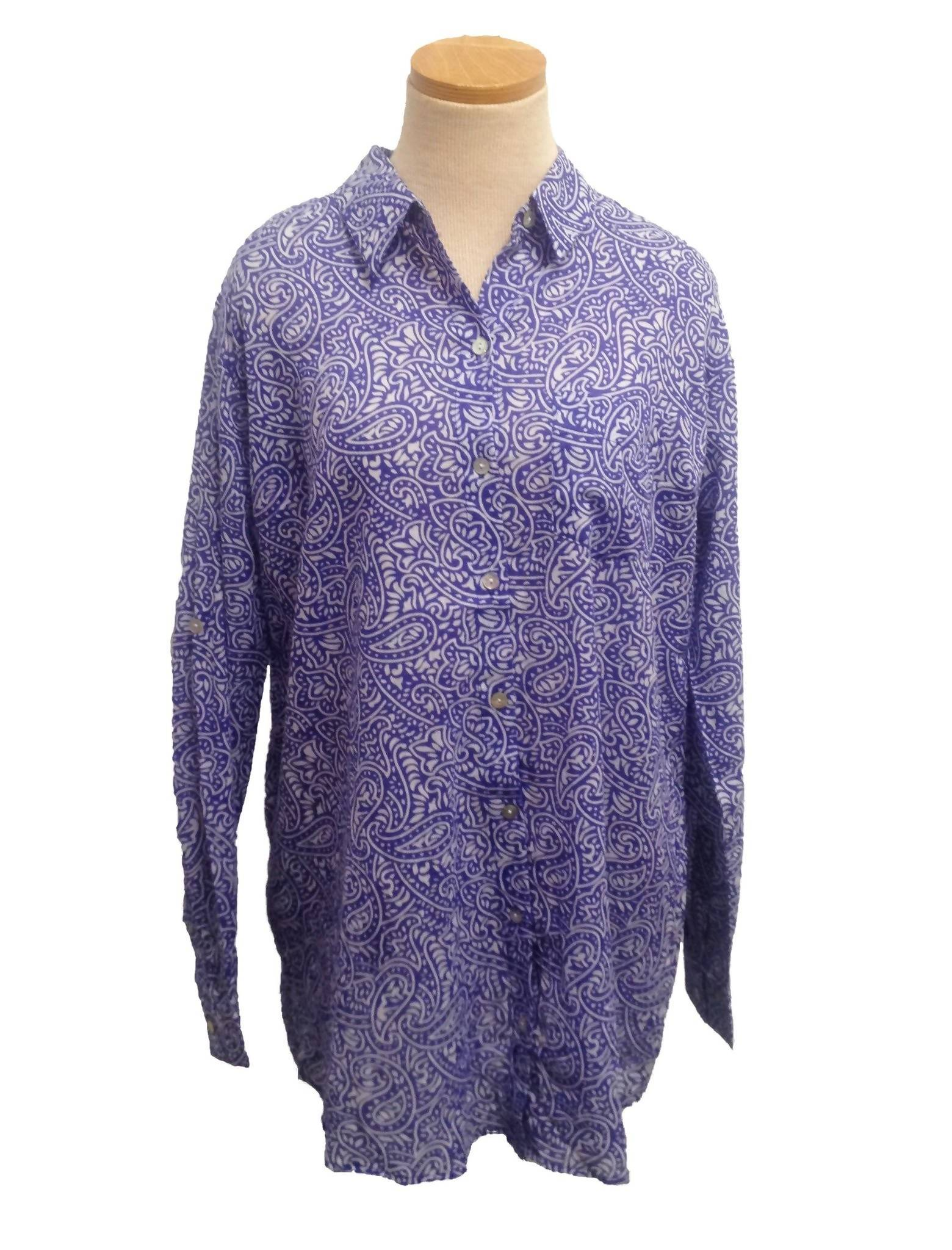 Royal Blue Paisley Over-Sized KikiSol Boyfriend Shirt